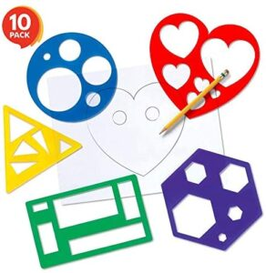 Karty Shape Stencil Set for Kids – 10 Piece Set – Colorful Drawing Template Kit – Fun Arts and Crafts Supplies, Gift Idea for Boys and Girls, Learning Tool for Toddlers and Preschooler