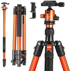 MACTREM Professional Camera Tripod with Phone Mount, 62″ DSLR Tripod for Travel, Super Lightweight and Reliable Stability, Ball Head Tripod Detachable Monopod with Carry Bag (Orange)