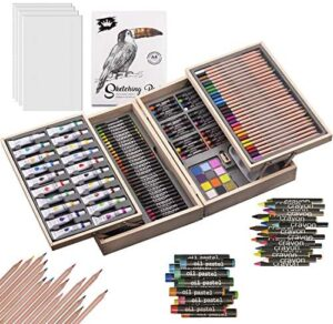 ART QIDOO 154 Pieces Deluex Art Set/Kit-Art Supplies, Painting&Drawing Set in Wooden Case with Crayons,Oil Pastels, Colored Pencils,Acrylic Paints,Sharpener,Watercolor Cakes and Brushes for Kids&Adult
