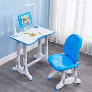 Gleamfut Desk and Chair Set, New Adjustable Study Desk Chair, Desktop/LEDBookstand/Drawer for Student Student Desk