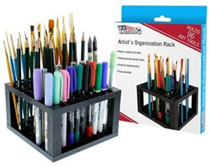 U.S. Art Supply 96 Hole Plastic Pencil & Brush Holder – Desk Stand Organizer Holding Rack for Pens, Paint Brushes, Colored Pencils, Markers