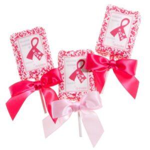 Pink Ribbon Krispy Treats on a Stick – Set of 4