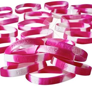 Kicko Breast Cancer Awareness Rubber Bracelets for Kids, Teens, Adults – Fashion Accessory, Novelty Prize, Gift, Party Favor – Ê24 Pack, 8 Inches