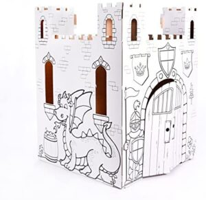 Easy Playhouse Fairy Tale Castle – Kids Art & Craft for Indoor & Outdoor Fun, Color, Draw, Doodle – Decorate & Personalize a Cardboard Fort, 32″ X 32″ X 43. 5″ – Made in USA, Age 2+