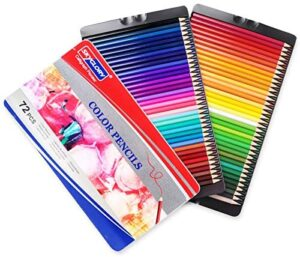 Colored Pencils Art Supplies Set with Bright Colour Soft core Color Pencils Use for Kids and Adults Coloring Books, Artist Sketches for Shadows and Coloring, 72 Colors