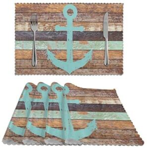 Deaowangluo Nautical Anchor Rustic Old Barn Wood Placemats Set of 4 Washable Heat Resistant Table Mats for Party Kitchen Dining Decor 12 X 18 inch