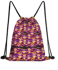 LunchBaggg Halloween Skull Hat Bats Women Vintage Simple Drawstring Backpack Halloween Party Supplies