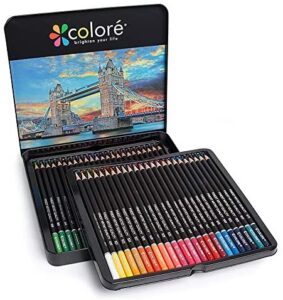 Set of 48 Colored Pencils, Wood Drawing Multi-Colored Pre-Sharpened Drawing Pencils for Adults and Children, Ideal for Sketching, Shading & Coloring, Pencils for Beginners & Pro Artists in a Metal Box