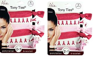 Mia Tony Ties, 2 in 1 Hair Accessories, Ponytail Holder & Bracelet, Basic, Knotted, Elastic, Ribbon, Rubber Bands, Beautiful Hot Pink, Pretty Pink, Chic White Breast Cancer Ribbons, 2 Packs, 12pcs
