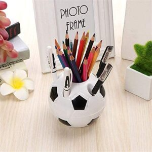 Cute Kawaii Football Pen Holder Kids Stationery Pencil Organizer Desk Set Accessories Offices School Round Container Desktop Box (Color : Red)
