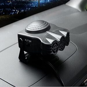 Portable Car Heater Cooler 12V 2 in 1 Ceramic Car Heater Cooling Fan Windscreen De-Icer Demister Defroster 150W (Black)