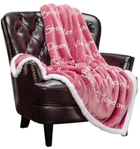 Chanasya Hope Faith Love Joy Inspiring Message Gift Throw Blanket – Perfect Caring Uplifting Thoughtful Personalized Gift for Blessing Prayer for Male Female Best Friend Sherpa – Pink Throw