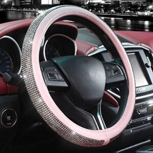 Valleycomfy Diamond Leather Steering Wheel Cover with Bling Bling Crystal Resin Rhinestones, Universal Fit 15 Inch Car Wheel Protector for Women Girls(Pink)