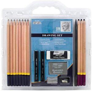 PRO ART Pencil Set Sketch & Draw, 9.38″ x 9.38″ x 0.25″, Graphite & Charcoal