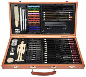 FLOWood 58 Piece Sketching Pencils Art Supplies with Drawing Tools for Beginners and Artists,Sketching and Drawing Kit with Wooden Box