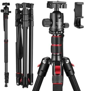 MACTREM 80″ Camera Tripod, DSLR Tripod for Travel, Lightweight Aluminum 360 Degree Ball Head Professional Tripod, Monopod with Carry Bag, Phone Mount, 18.5″ to 80″, 33lb Load(Black)