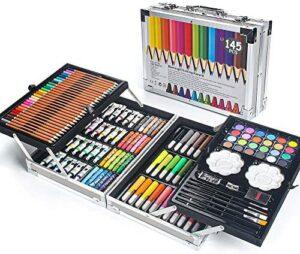 MIAOKE 145 Piece Art Set, Deluxe Mega Aluminum Box with Colored Pencils, Markers, Acrylic & Watercolor Paints, Oil Pastels, HB Pencils, Watercolor Cake, Sharpener, Eraser, Paint Brush, Sketch pad