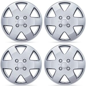 BDK KT-978-15 Silver 15 Inch Hubcaps Wheel Protection-4 Lug Nuts, OEM Replica Replacement Hub Cap Covers, Easy Installation, Total 4 Pieces (2 Front 2 Rear)