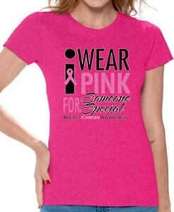 Awkward Styles Women's I Wear Pink for Someone Special T-Shirt Cancer Shirt