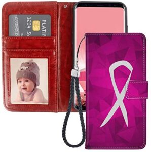 Wallet Case Compatible for Samsung Galaxy S8 (2017) (5.8 Inch) Breast Cancer Sign for Women