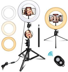 TUKTOBE 10″ Ring Light with Stand, Selfie Ring Light with Tripod Stand & Cell Phone Holder for Live Stream, YouTube Video, Makeup, Dimmable LED Camera Ringlight Compatible with iPhone Android