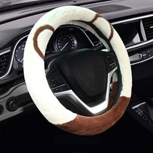 Valleycomfy Fluffy Steering Wheel Cover for Women Soft Fuzzy Steering Wheel Cover Winter Warm Car Wheel Cover Universal Fit 15 Inch Beige