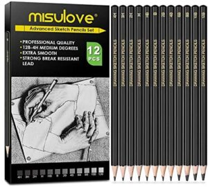 MISULOVE Professional Drawing Sketching Pencil Set – 12 Pieces Art Drawing Graphite Pencils(12B – 4H), Ideal for Drawing Art, Sketching, Shading, for Beginners & Pro Artists