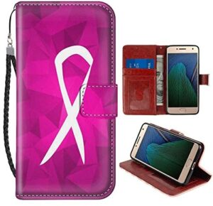 Wallet Case Compatible for Moto G5 Plus (2017) (5.5 Version) Breast Cancer Sign Leather