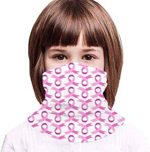 AUHILL Pink Day Rose Petals Ribbon Breast Cancer Awareness Symbol Kids Cooling Gaiter Mask Neck Wraps Cool Ice Silk Face Masks Reusable Scarf Bandana for Summer Heat Boys Girls