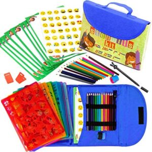 Stencil Drawing Kit for Kids w/Carry Case – 55 pcs. w/ 280 Stencil Shapes and Colored Pencils – Arts and Crafts for Home Travel – Fun Creative STEM Toy for Girls and Boys Ages 3 to Teen