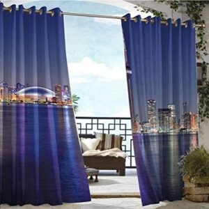 ParadiseDecor 112″ W by 95″ L(K284cm x G241cm) Blue Home Fashions Curtain Curtains Panels for Patio&Garden Canada Toronto Sunset Over The Lake Panorama Urban City Skyline with Night Lights