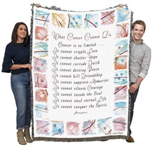 Pure Country Weavers What Cancer Cannot Do Comfort Survivor – Blanket Throw Woven from Cotton – Made in The USA (72×54)
