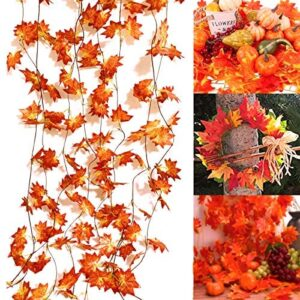 XIANMU 5 Pack Fall Leaf Garland Fall Leaves Decoration 38 FT Artificial Silk Maple Leaf Garland Autumn Hanging Vine for Halloween Thanksgiving Day Christmas Home Garden Backdrop Fireplace Decor