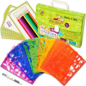 Drawing Stencils Set for Kids (54-Piece) – Perfect Creativity Kit & Travel Activity – Arts and Crafts for Girls & Boys with Over 300 Shapes – Educational Toys Age 3+ Ideal Kids Gifts