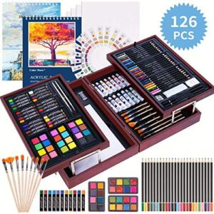 126 Piece Deluxe Art Creativity Set with 2 Drawing Pad, Art Supplies in Portable Wooden Case- Crayons, Oil Pastels, Colored Pencils, Acrylic Paints, Watercolor Cakes, Brushes – Deluxe Drawing Kit