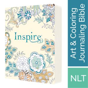 Tyndale NLT Inspire Bible (Softcover, Aquamarine): Journaling Bible with Over 400 Illustrations to Color, Coloring Bible with Creative Journal Space – Religious Gift that Inspires Connection with God