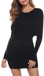Aibrou Women Long Sleeve Turtleneck Cable Knit Sweater Dress Slim Pullover