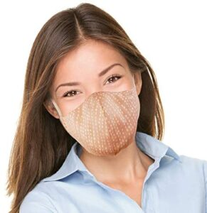 Canadian Fall 2020 Fashion Designer Cloth Face Mask, Washable, Reusable, Multilayer Cotton 3D Shape Lightweight Fabric Adjustable. Made in Canada. Size: Youth or Small Adult – Peach Moon Colour