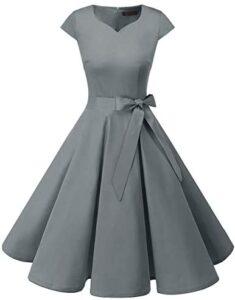 DRESSTELLS® Women's Retro 1950s Rockabilly Bridesmaid Polka Dots Vintage Cocktail Dress Cap-Sleeves