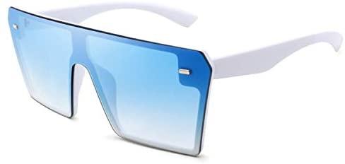 FEISEDY Fashion Oversized Rimless Square Sunglasses Women Men Retro Big Flat Top Shield Shades B2636
