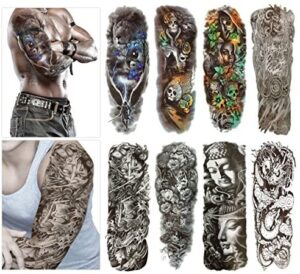 Fashion Temporary Tattoo Transfer Stickers – 8 Sheets Large Size Tattoo Body Stickers for Man & Women Waterproof Removeable Non-Toxics & Safe for All Skin (Set.2)