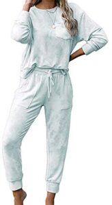 Jhsnjnr Womens Tie Dye Long Sleeve Pajamas Set Casual PJ Sets Long Nightwear Loungewear
