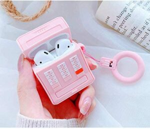 Mulafnxal for Airpods 1&2 Case,Cute 3D Funny Cartoon Character Soft Silicone Airpod Cover,Kawaii Fun Cool Keychain Design Skin,Fashion Designer Cases for Girls Kids Teens Air pods(Pink Retro Phone)
