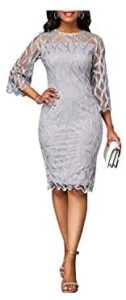 Perfect-Mood Women Lace Slim Dress Office Ladies Round Neck Flare Sleeve Stretch Bodycon Dresses