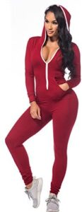 Sedrinuo Long Sleeve Bodycon Front Zipper Hooded Long Pants Sexy Rompers Playsuits