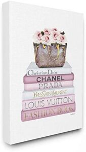Stupell Industries Fashion Designer Flower Purse Bookstack Pink White Watercolor Canvas Wall Art, Multi-Color