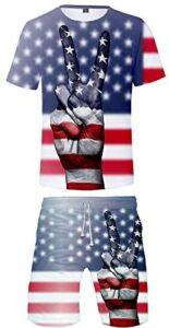 URVIP Men's Romper USA Flag Printed Summer Overalls Outfits Set Tops and Shorts