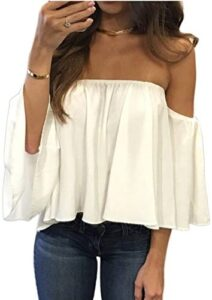 Women Casual Pullover Tops Off Shoulder Chiffon Blouse