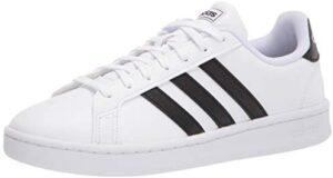 adidas womens Grand Court Sneaker, White/Black/White, 8.5 US