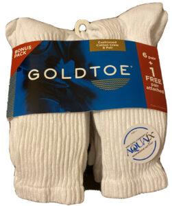 GOLD TOE Men's Cushion Cotton Crew Sock White Pack of 7 Sock 10-13 Shoe 6-12 1/2